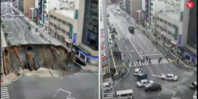 Hanya Dua Hari, Jepang Tuntaskan Jalan Ambles 15 Meter