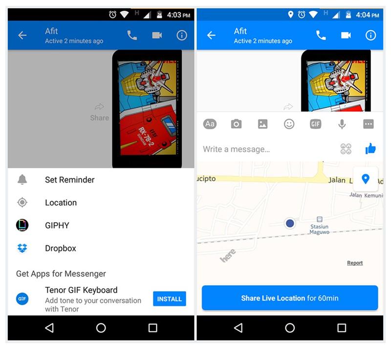 Fitur Berbagi Lokasi atau Live Location Facebook Messenger
