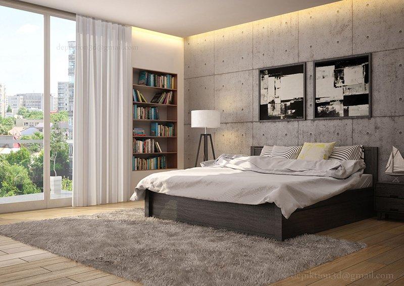 Kamar Tidur Dengan Dekorasi Dinding Beton Alami