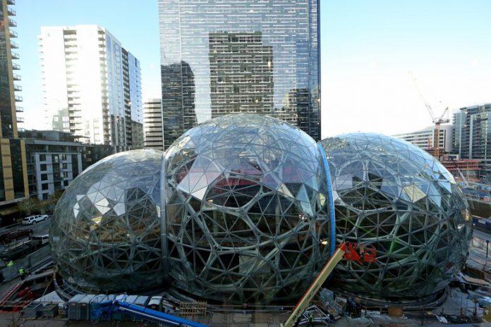 Inilah Kantor Unik Amazon Yang Dipenuhi Tanaman dan Rumah Pohon